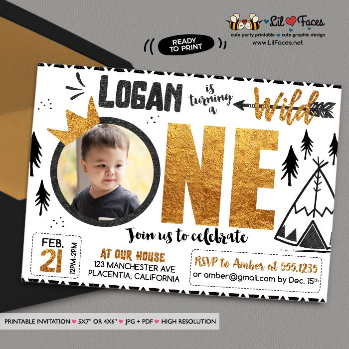 Wild one First Birthday Photo invitation DIY King of all wild things Printable Invitations Black and gold printable Birthday invite Golden Crown boho teepee Invitations