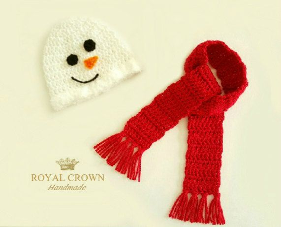 Baby Snowman Hat and Scarf,Crochet Snowman Hat,Baby Christmas Hat,Crochet Stocking Hat,Newborn Snowman Hat,Baby Snowman,Christmas Photo Prop by RoyalCrownHandmade on Etsy