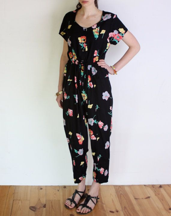 80's floral jumpsuit basque bodice long legs by WoodhouseStudios, $49.00
