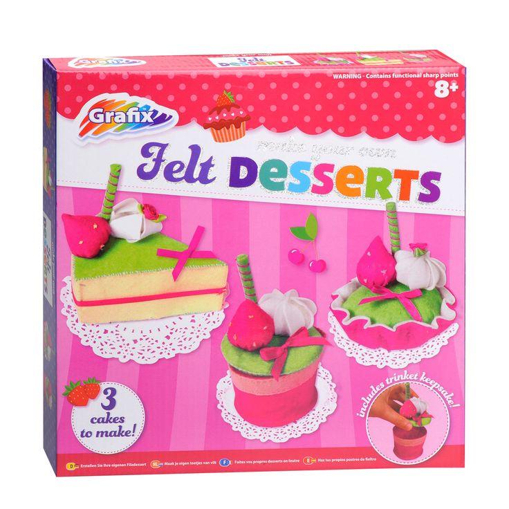 Maak je eigen heerlijke taartjes van vilt met deze knutselset. Deze set bevat alle benodigdheden en instructies.