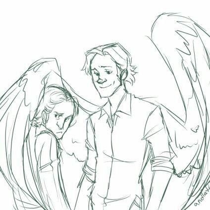 Sabriel - Fanart, Angel!Sam x Human!Gabriel