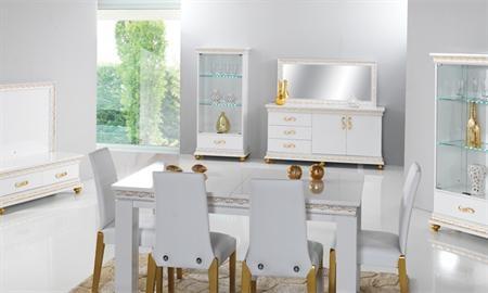 Yılın moda renklerinden bir olan beyaz, avangard yemek odası takımlarında yerini almış. Oldukça zarif, yeni ve dayanıklı bir görünüm sergileyen harika model diğerlerinden çok farklı ve çok daha yeni bir çizgi olduğunu rahatça anlatabiliyor.