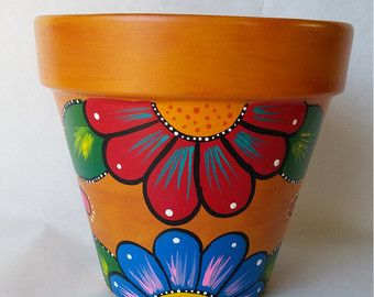 Pottery hand painted flower pot rustic flower pot painted