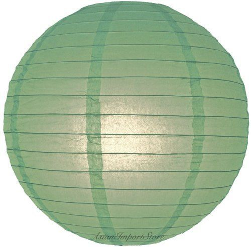 """16"""" Sea Green Even Ribbing Round Paper Lanterns - (10 Pack) by Asian Import Store, Inc.. $16.00. Sea Green round paper lanterns with a even wire ribbing and is held open with a wire expander.. Dimensions: 16"""" dia. Each pack includes 10 x Paper Lanterns. (All lanterns sold without lighting, lighting options must be purchased separately). Sea Green round paper lanterns with a even wire ribbing. Lantern is held open with a wire expander.  Dimensions: 16"""" dia  (All lanterns sold w..."""