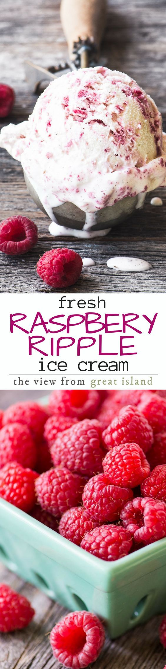 Raspberry Ripple Ice Cream ~ I can remember ordering it as a kid, there's something about raspberries that just screams summertime, right?   The fresh flavor of my homemade raspberry ripple ice cream is delightful and something you won't find in the freezer aisle or ice cream shop.