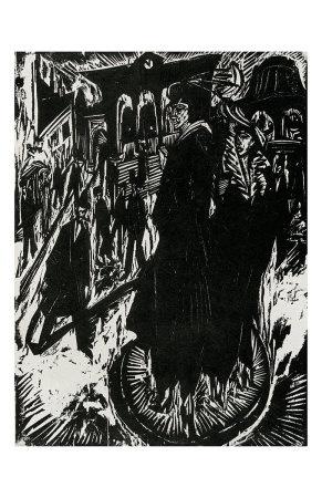 """XILOGRAFÍA  A TESTA - """"Mujeres en Potsdamer Platz"""", 1914 - ERNST LUDWIG KIRCHNER - Aprovecha la verticalidad de la madera para dar un aspecto duro, fuerte contraste de blanco y negro, gruesas líneas que aportan dramatismo - Fue uno de los 4 componentes del grupo DIE BRÜCKE, trabajan la xilografia en negativo, rehundiendo el dibujo que en el grabado queda en blanco, Kirchner introduce el color dividiendo la planca en varias partes con los colores luego las unía y estampaba simultáneamente"""