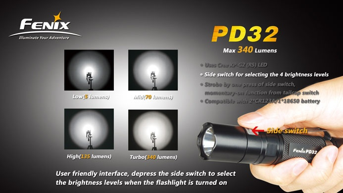 Fenix PD32 is a high intensity flashlight in small size for outdoor use. It features 4 brightness levels, strobe mode and hidden SOS function by pressing the side switch. Powered by two CR123ALithium batteries or one high capacity 18650 Li-ion battery, PD32 delivers max 340 Lumens of brightness and max 245 hours of runtime, it meets the various demands of customers.    Its compact design, User friendly interface, waterproof to IPX-8 standard. Suitable for outdoor activities and every day…
