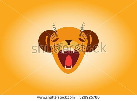Worried little grumpy lion cub roaring roar face illustration