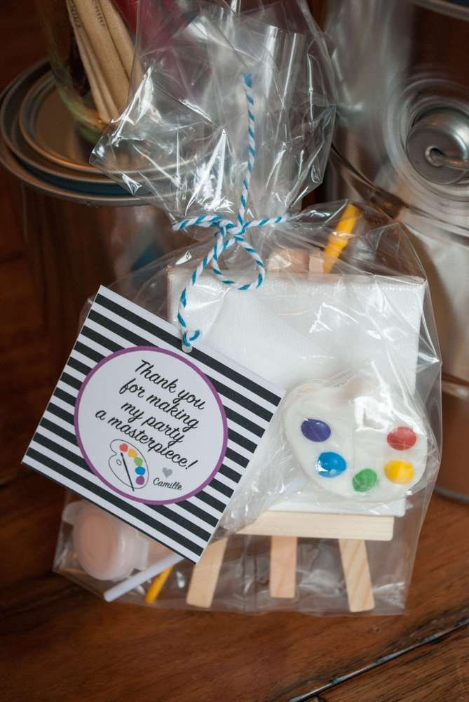 Fun favors at an art birthday party! See more party planning ideas at CatchMyParty.com!