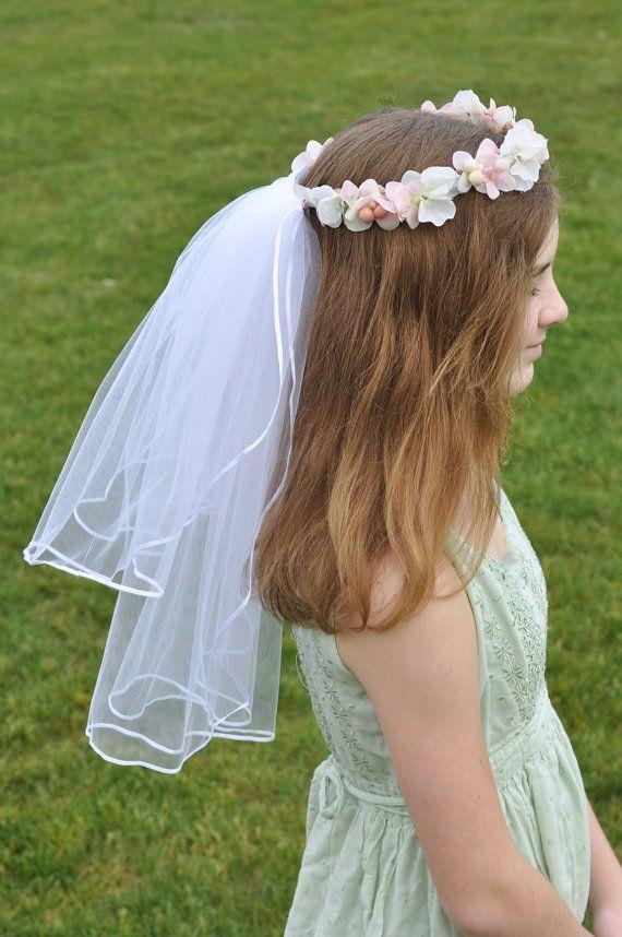 First Communion Veil Flower Girl Headpiece by Hollysflowershoppe