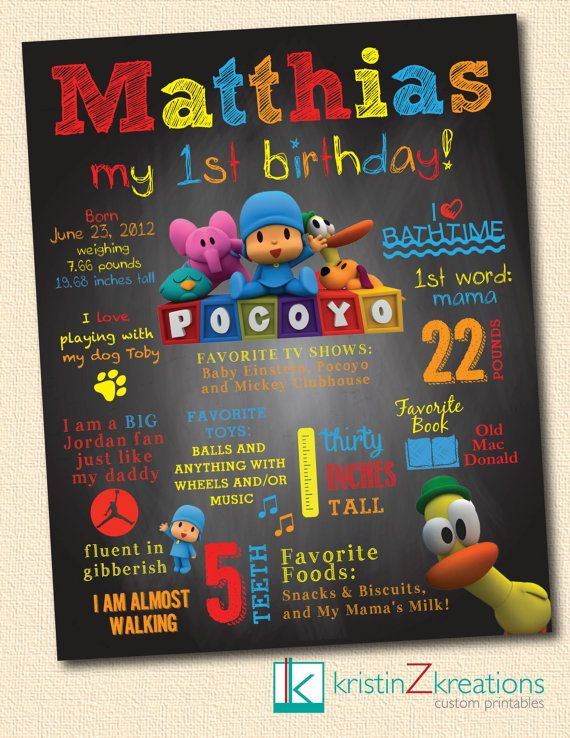 Custom Poster/Chalkboard Design (Pocoyo)- digital file YOU PICK SIZE on Etsy, $342.00                                                                                                                                                      Más