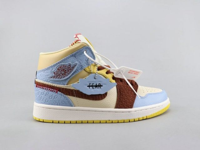 Nike Air Jordan 1 Blue Brown Yellow Unisex Basketball Shoes Jordan 1 Blue Air Jordans Air Jordans Retro