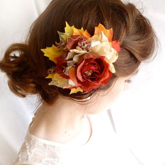 fall wedding hair clip - RUSTLE - brick red, burnt orange leaves, twigs, flowers