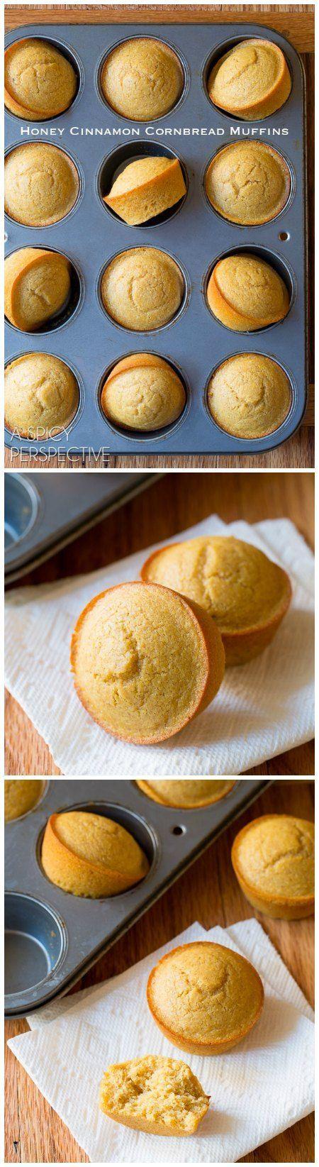 THE BEST Honey Cinnamon Cornbread Muffins on http://ASpicyPerspective.com #cornbread #bread