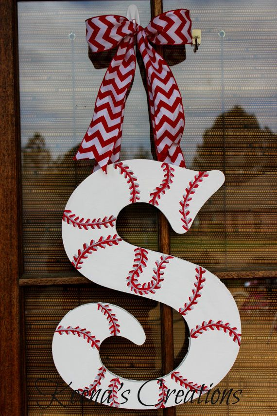 22 inch Single Letter Baseball Softball Wooden Initial Monogram Door Hanging on Etsy, $40.00