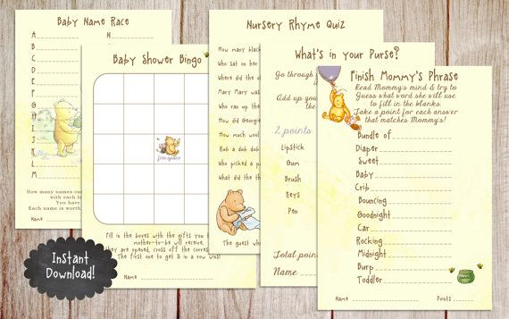 Baby Name Race Baby Shower Game, Printable Winnie the Pooh Baby Shower Game…