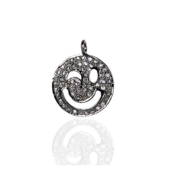 Sterling Silver Diamond Pave Crazy Smiley Face Emoji Charm Pendant Fine Jewelry #Handmade