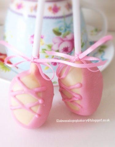 ❥Ballet Soirée. Pretty pink ballet shoes cake pops from Elaine's Cake Pop Bakery