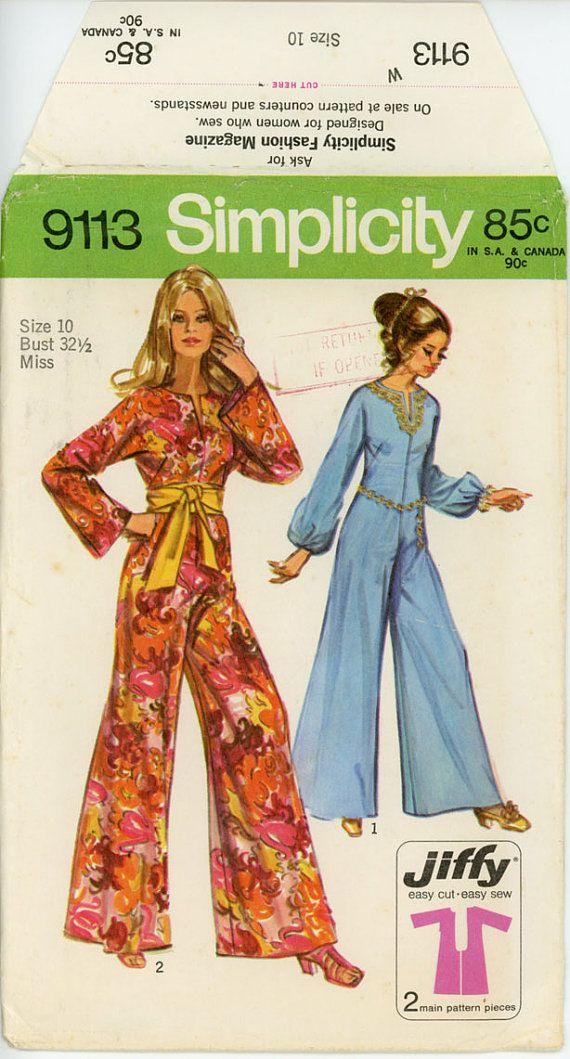 1970s jumpsuit pattern bust 32 simplicity 9113 wide leg