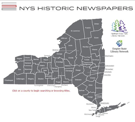 """The NYS Historic Newspapers project provides free online access to a wide range of newspapers chosen to reflect New York's unique history."""