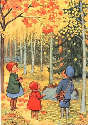 This is from a school reader for younger children. The picture is by Elsa Beskow, a Swedish artist, who wrote and illustrated many books for children.