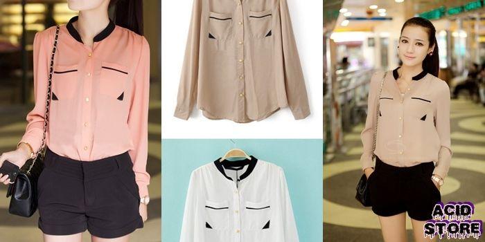 Camisa sin cuello  Color Blanco - Rosa - Beige  Talla XS - S - M $ 50.000