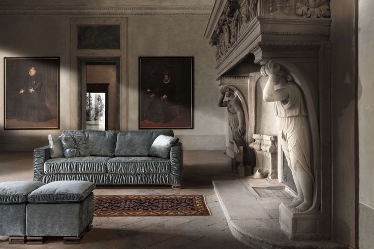 Garrison, #design Elena Viganò   This sofa and sofa bed has a particular removable #cover with details recalling the #artdeco style.