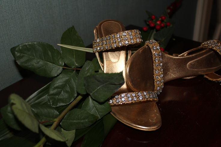 Gold leather and Swarovski Crystals extremely hight heels. Ankle lace www.celine.com/