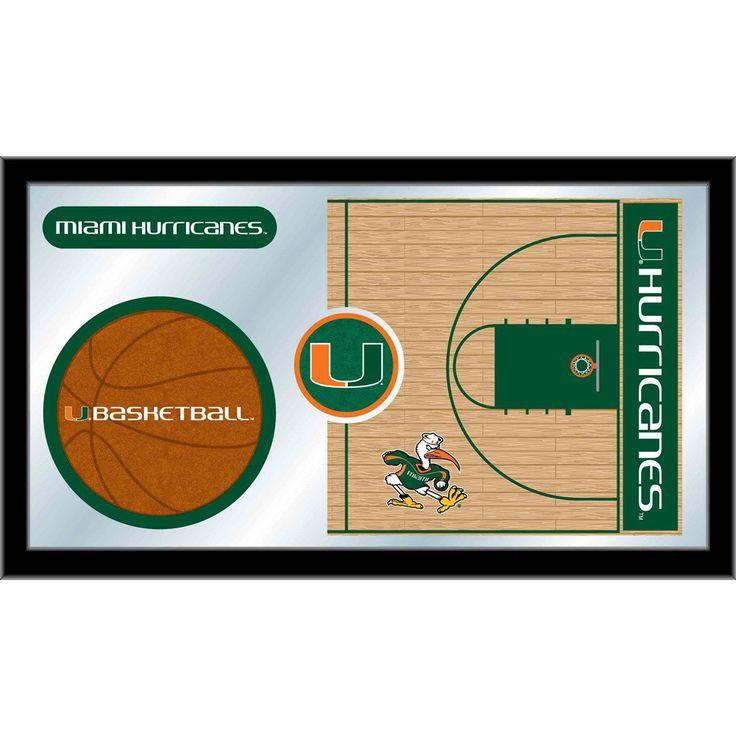 Miami Hurricanes Basketball Court Mirror Wall Art