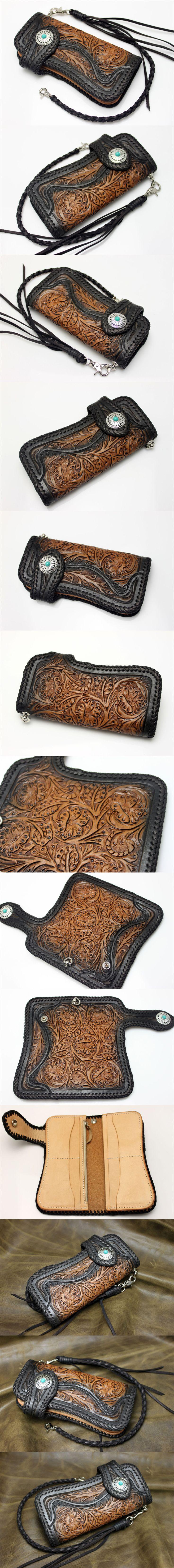 Floral Filigree Flower Vintage Wallet Hand Carved Tooled Leather Biker Wallet   eBay