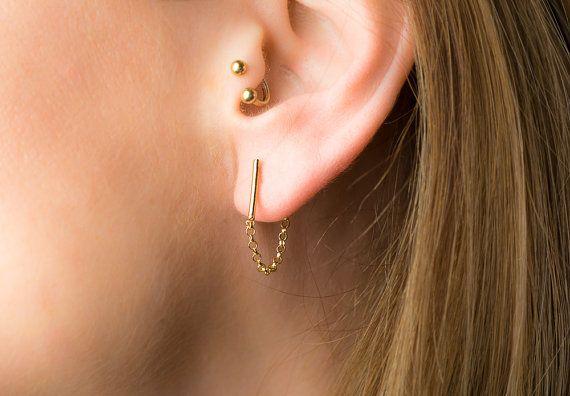 Bar ketting oorbellen bar oorbellen met keten gouden ketting oorbellen en ketting oorbellen minimale oorbellen gouden oorringen bar boekt minimale hengsten