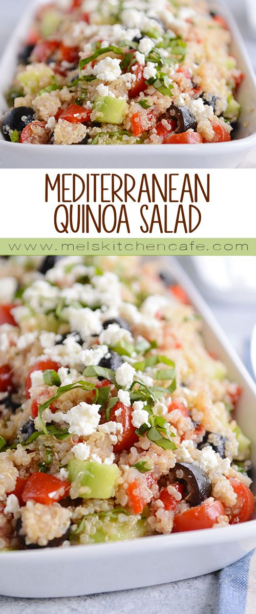 Healthy, easy and SO delicious, this fresh Mediterranean quinoa salad comes together quickly and makes a perfect side dish for so many meals (or better yet, a tasty, meatless lunch or dinner)!