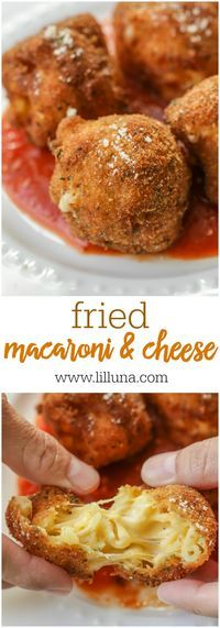 Fried Macaroni & Cheese - a copycat of the appetizer from Cheesecake Factory! Creamy mac and cheese inside a delicious and crispy breaded outside! To die for!!