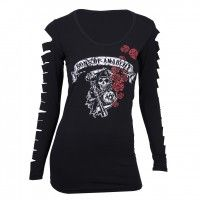 If you support SAMCRO, then you'll be proud to wear Sons of Anarchy clothing for women from the FX Shop. This 100 percent cotton Sons of Anarchy Reaper shirt will make you feel like a real member....