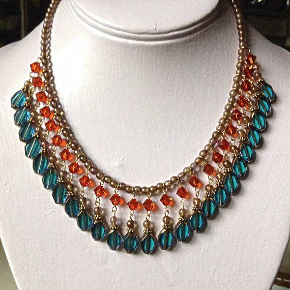 Beautiful Blue Zircon and Indian Red by GloriaDolleckJewelry