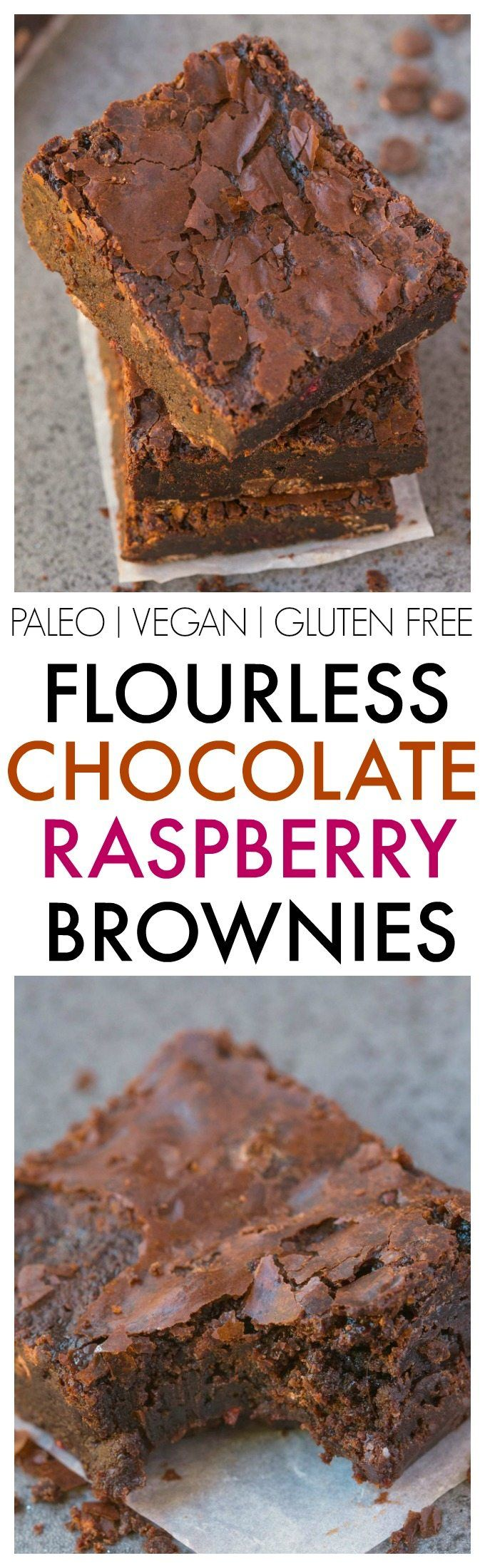 Healthier Flourless Chocolate Raspberry Brownies made with NO flour and NO…