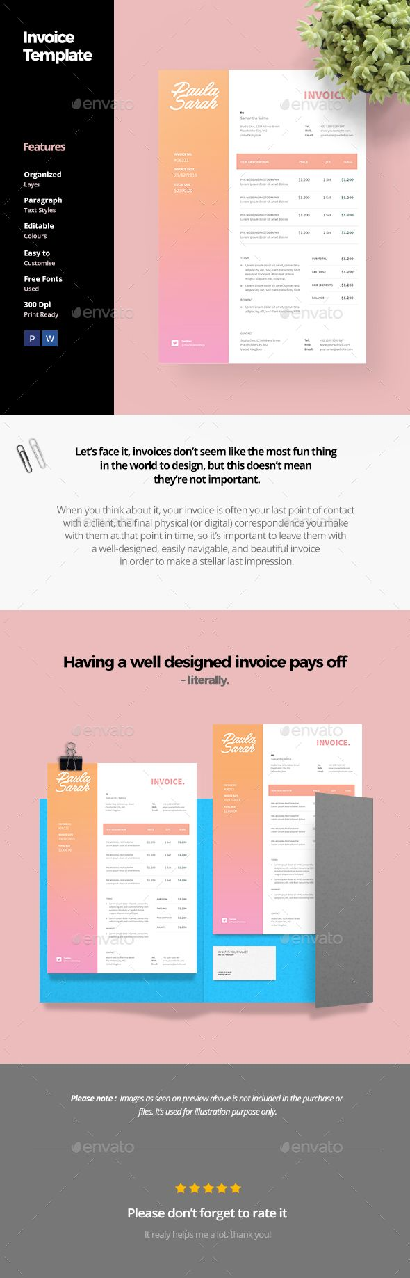 Invoice Template by AnabellaHope Clean Invoice Template Clean and modern invoice template for your business. FeaturesPSD and MS Word 300 Dpi CMYK, Print Ready Sma