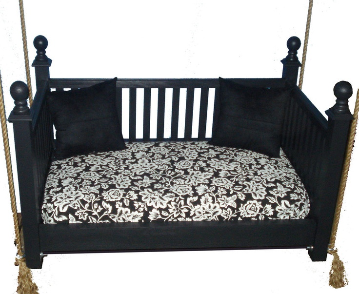 Hand-built porch swing with crib mattress for cushion...ohhh, maybe this is what we can do when we retire the crib mattress soon!