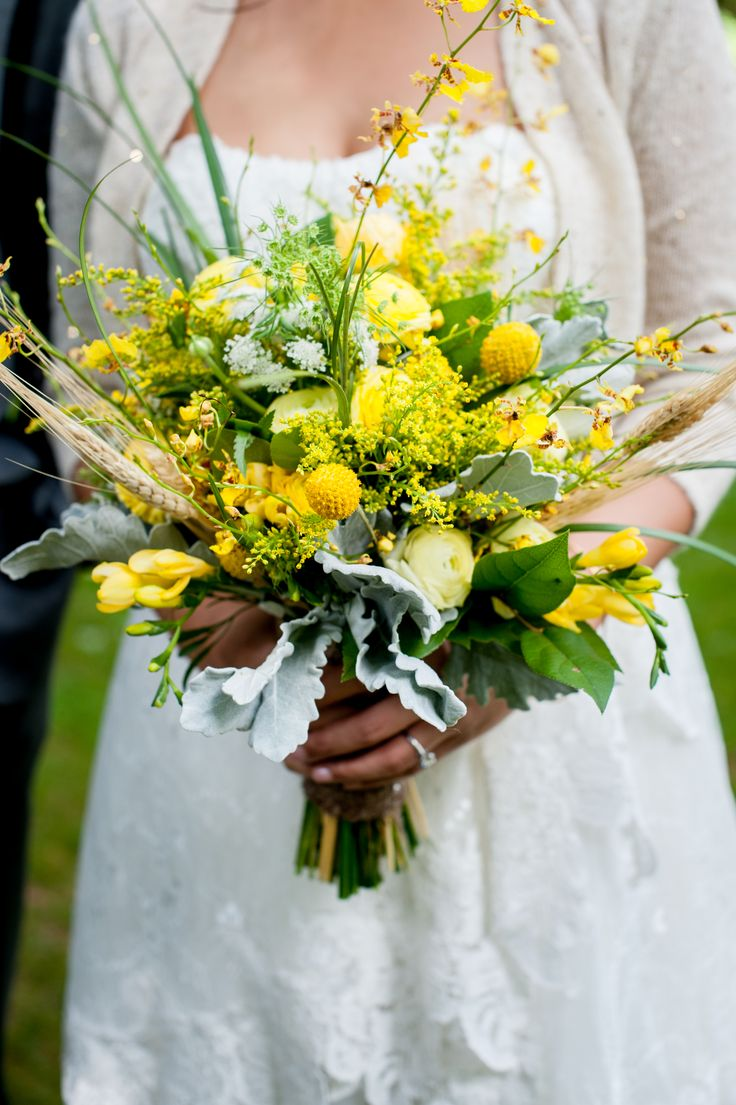 Cheerful Bouquet With Craspedia, Dusty Miller and Wildflowers