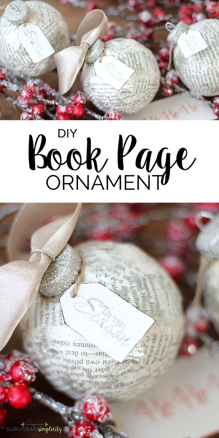 Create christmas ornament - Diy Book Page Ornament