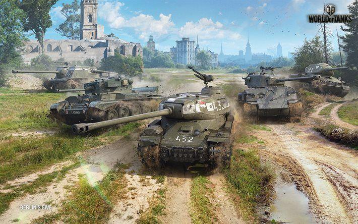 Lataa kuva World of Tanks, säiliöt, WoT, T-34-85 Rudy, M4A3E8 Thunderbolt-VII, ISU-122C