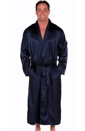 Blue Mens Satin Robe