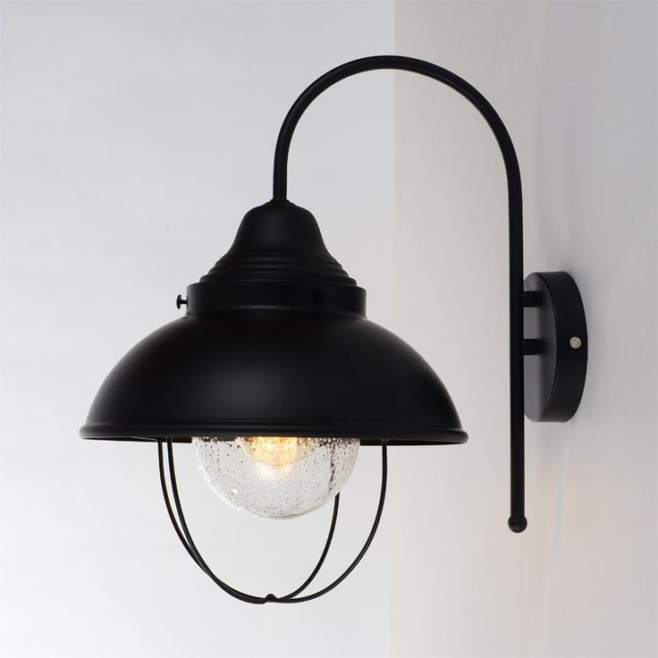 Savy Industrial 1-Light Seeded Glass Black Metal Lantern Wall Light