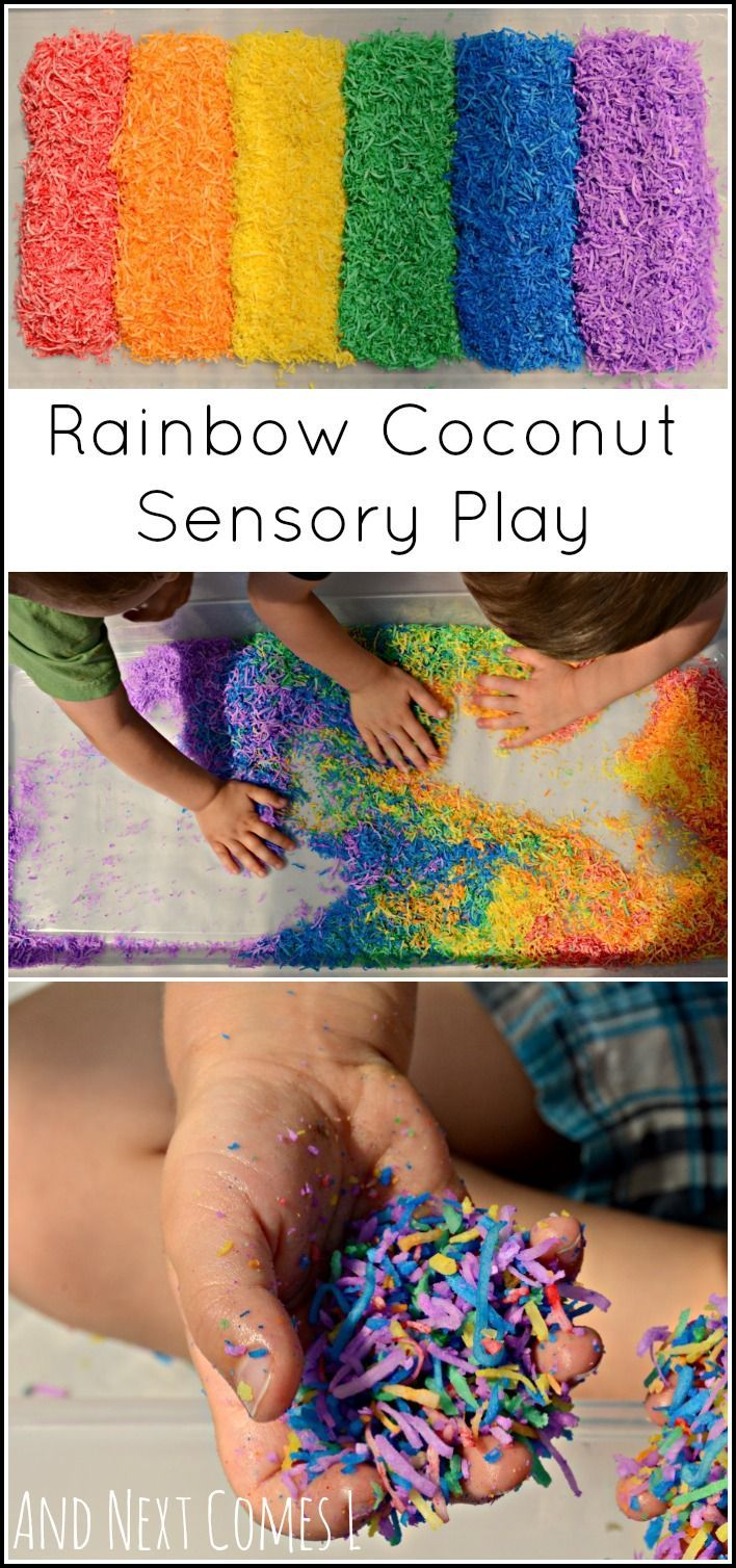 How to dye shredded coconut for sensory play - colorful and scented fun for kids from And Next Comes L