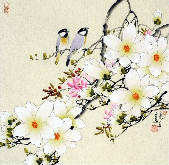 Love singing among flowers. Chienese magnolia flower and couple birds #painting.(for office)