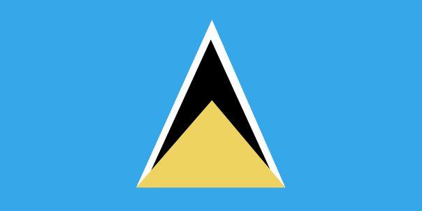 Saint Lucia Flag Description: Blue, with a gold isosceles triangle below a black arrowhead; the upper edges of the arrowhead have a white border
