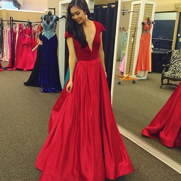 red prom Dress,A-line Prom Dresses,short sleeves prom Dress,v-neck prom dress,long Evening dress,BD6540