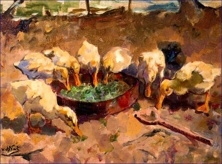 Willem Hendrik van der Nat (1865-1929) - Ducklings at a feeding bowl, oil on canvas, 30 x 41 cm.