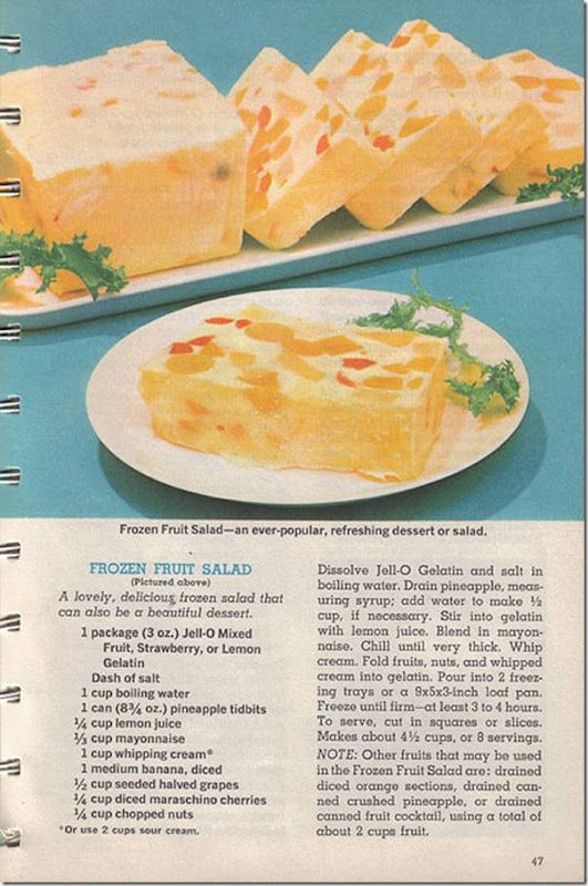 1963 vintage recipe for Frozen Fruit Salad