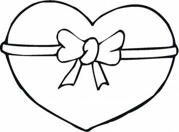 Ribbon Heart Valentine Coloring Pages